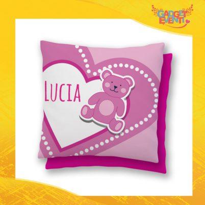"""Cuscino Bambino Baby Rosa con nome personalizzabile """"Orso Cuore"""" Gadget Eventi"""