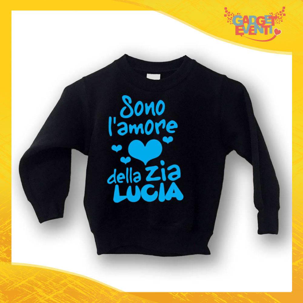 """Felpa Bambino Baby """"Amore della zia con Nome"""" Gadget Eventi"""