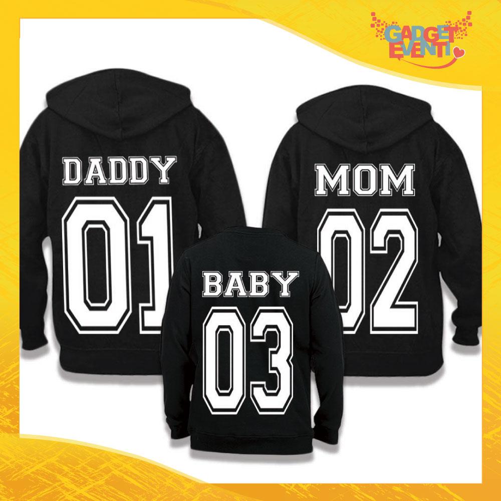 """Tris di Felpe Adulto Bimbo Famiglia """"Daddy Mom Baby"""" Gadget Eventi"""
