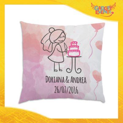 """Cuscino Quadrato Divano Letto Poltrona """"Sposa con Torta"""" Gadget Eventi"""
