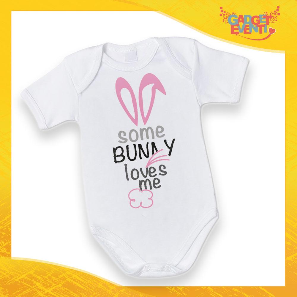 """Body Neonato Fucsia Bodino Bimbo """"Bunny Loves Me"""" Pasqua Pasquale Gadget Eventi"""