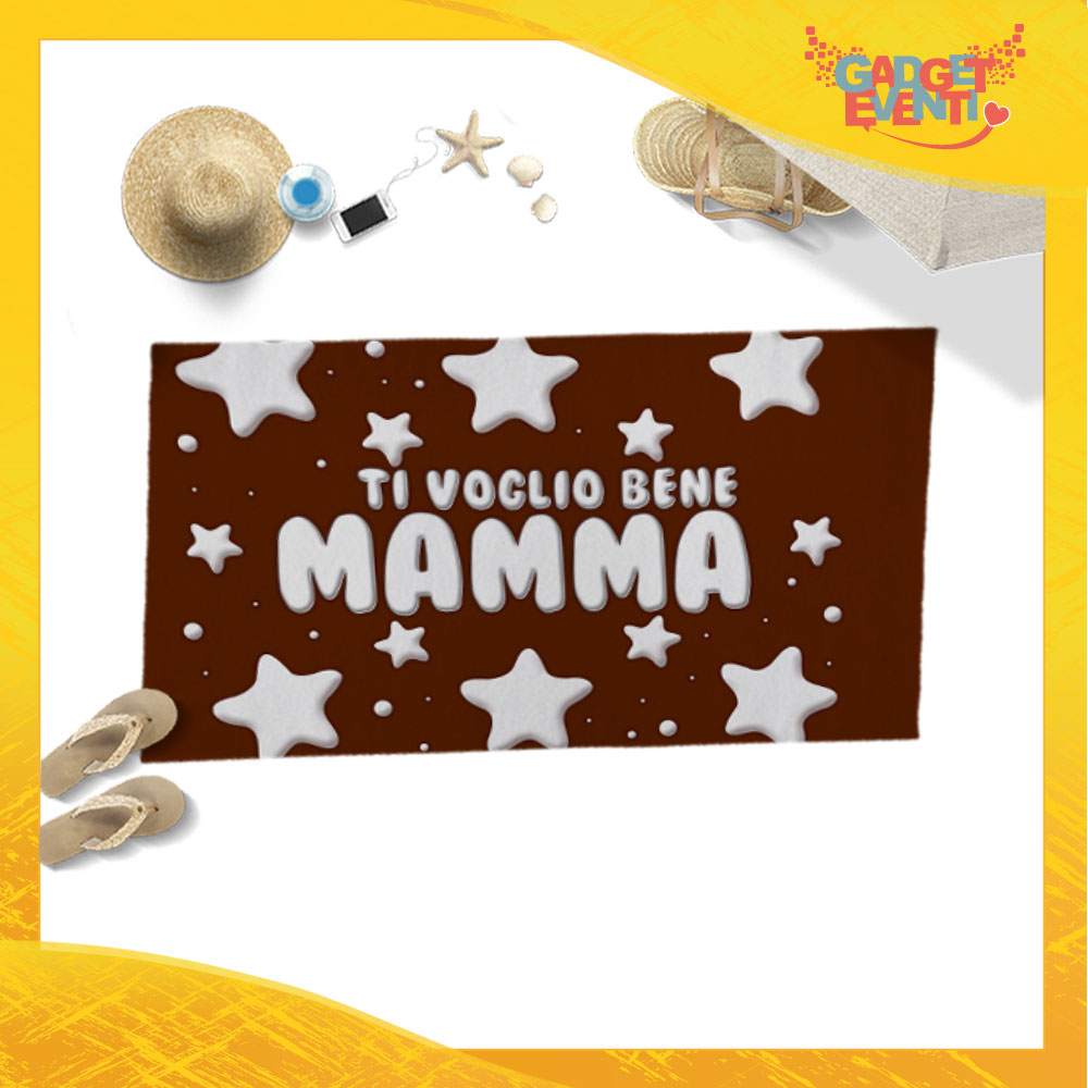 """Telo Mare Marrone Personalizzato """"Ti Voglio Bene Mamma Stelline"""" Festa della Mamma Gadget Eventi"""