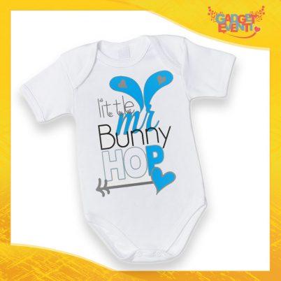 """Body Neonato Azzurro Bodino Bimbo """"Little Bunny Hop"""" Pasqua Pasquale Gadget Eventi"""