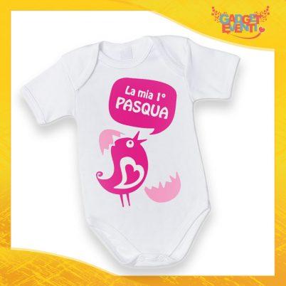 """Body Neonato Fucsia Bodino Bimbo """"Prima Pasqua Pulcino Parlante"""" Pasqua Pasquale Gadget Eventi"""