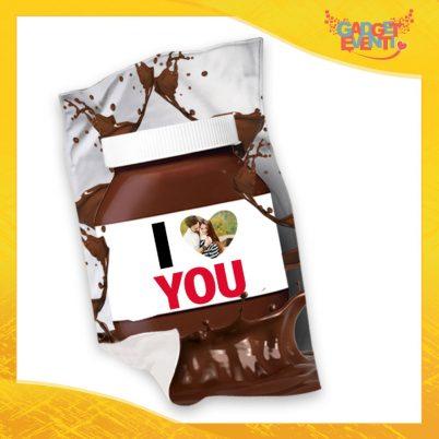 """Plaid Coperta in Pile """"I Love You Foto Personalizzata Cioccolato"""" San Valentino Gadget Eventi"""