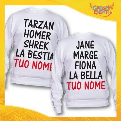 "Coppia di Felpe Bianco Love ""Tarzan Homer Shrek La Bestia"" San Valentino Gadget Eventi"