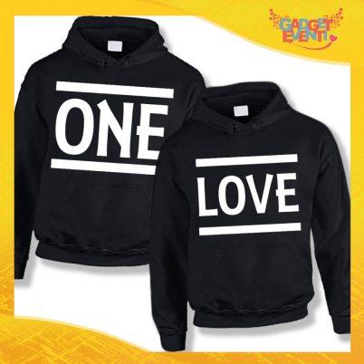 """Coppia di Felpe Nero Love """"One Love"""" San Valentino Gadget Eventi"""