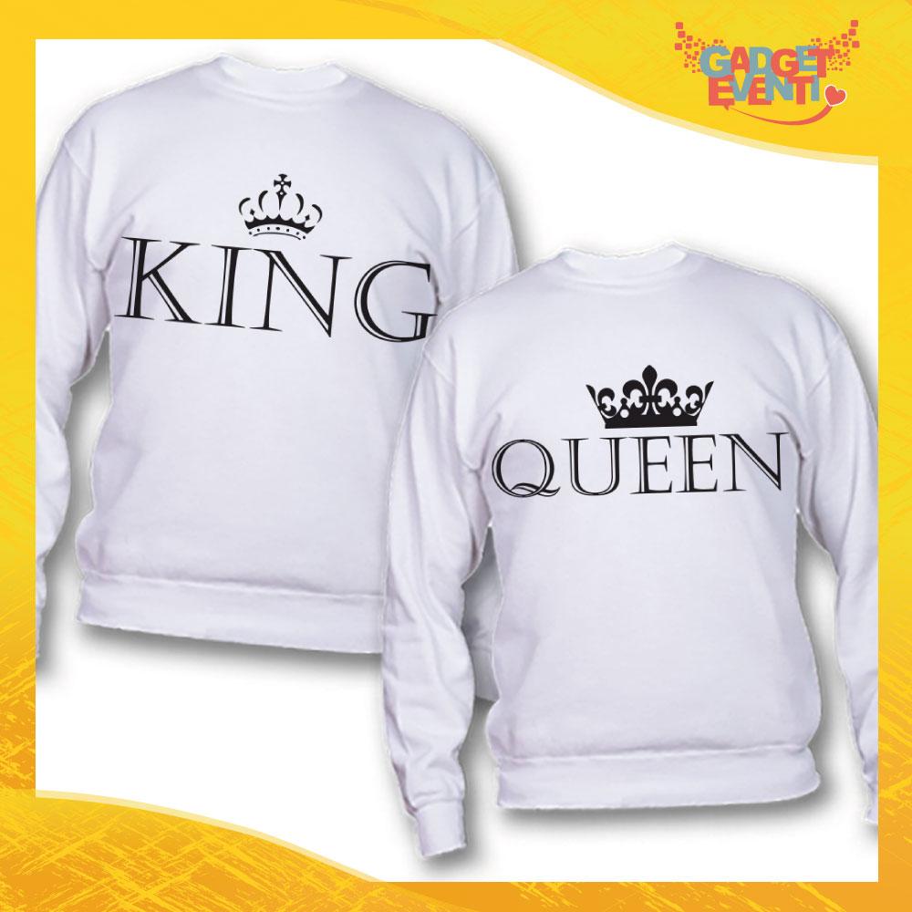 """Coppia di Felpe Bianco Love """"King and Queen"""" San Valentino Gadget Eventi"""
