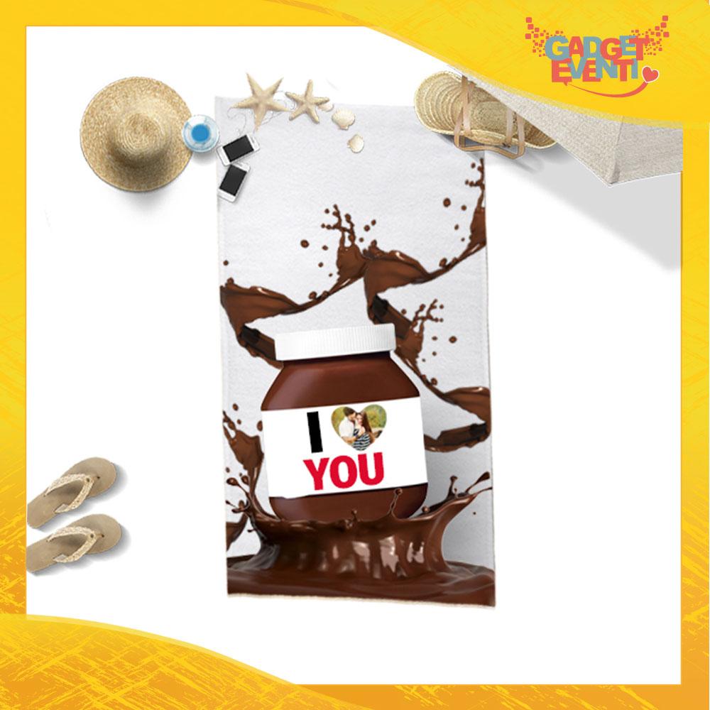 """Telo Mare Personalizzato """"I Love You Foto Personalizzata Cioccolato"""" San Valentino Gadget Eventi"""
