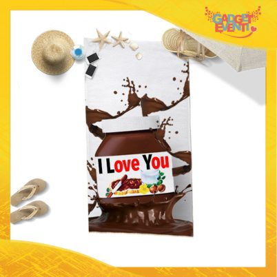 """Telo Mare Personalizzato """"I Love You Testuale Cioccolato"""" San Valentino Gadget Eventi"""