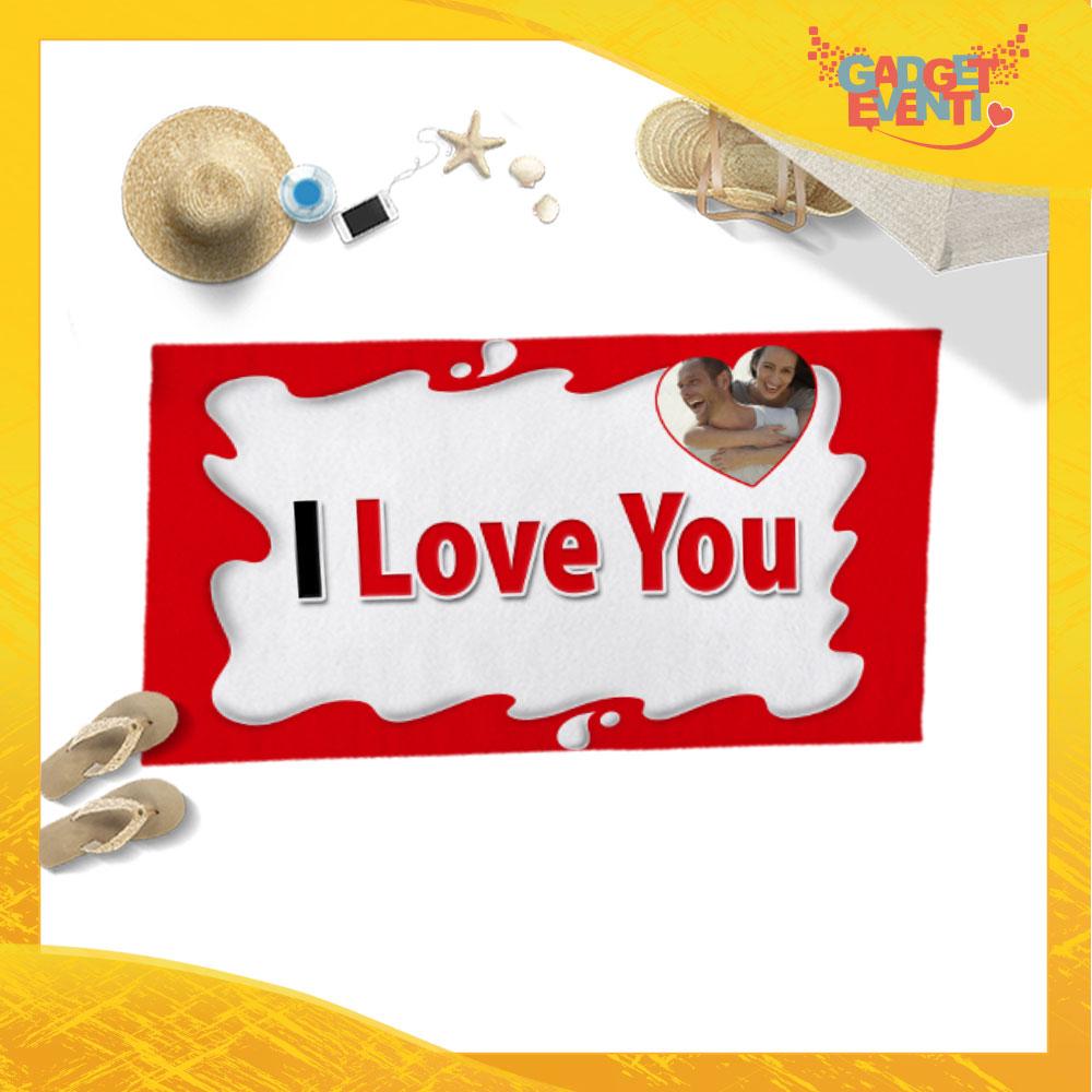 """Telo Mare Personalizzato """"I Love You Testuale Foto Personalizzata Bar"""" San Valentino Gadget Eventi"""