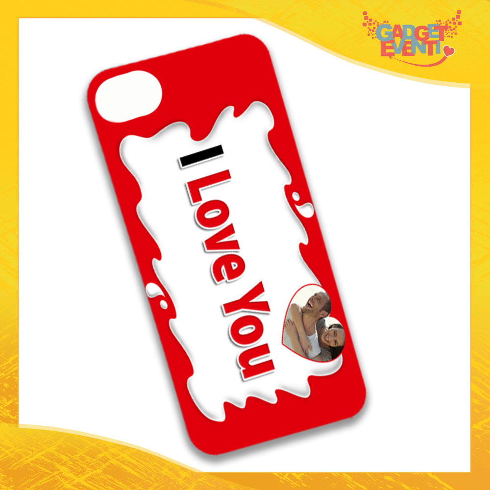 """Cover Smartphone Cellulare Tablet """"I Love You con Foto Bar"""" San Valentino Gadget Eventi"""