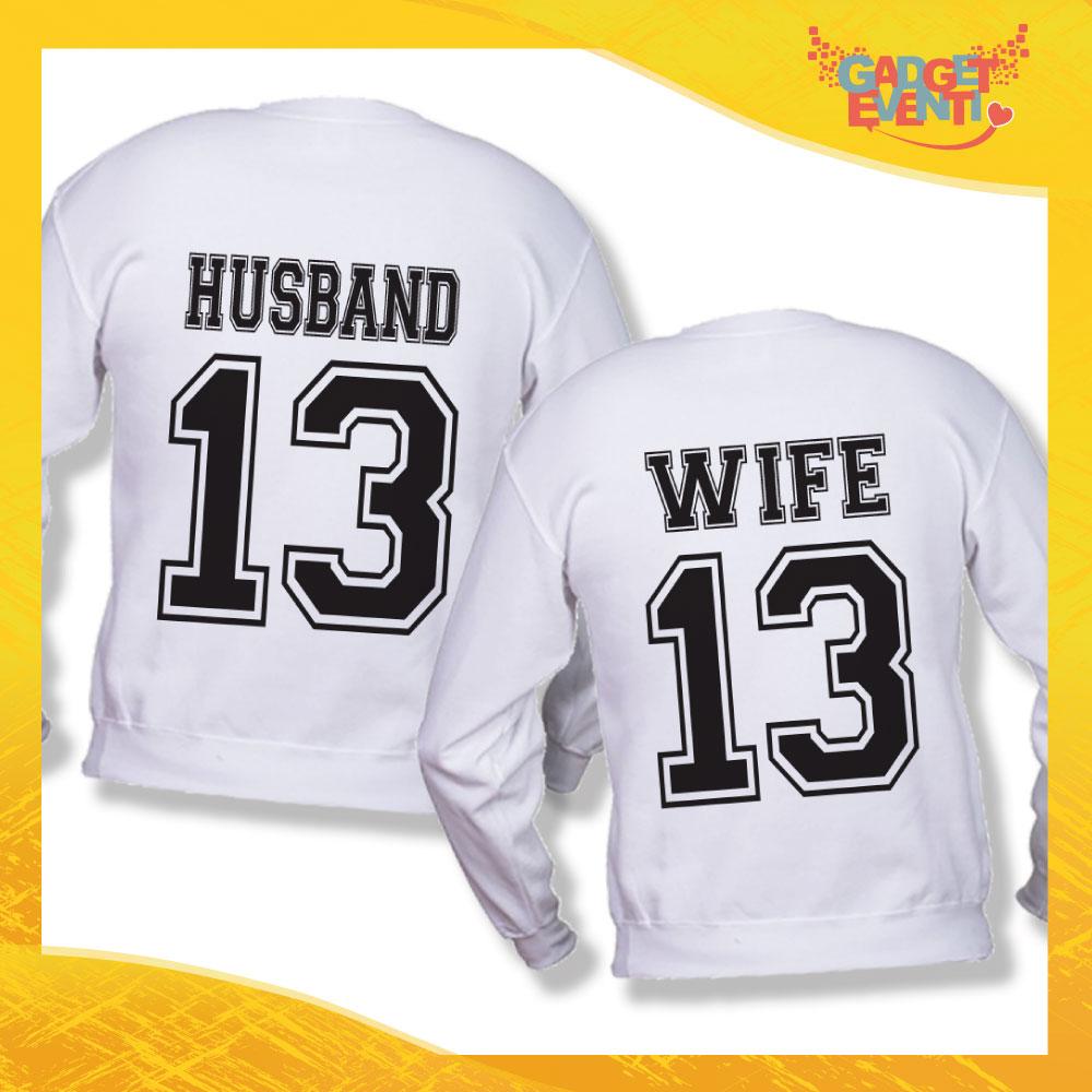 "Coppia di Felpe Adulto Bianco ""Husband Wife"" Sposi Stampa Retro Gadget Eventi"