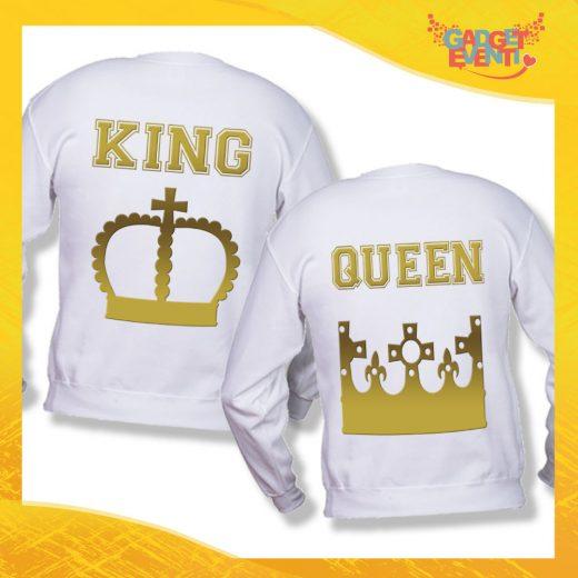 """Coppia di Felpe Bianco Oro Love """"King and Queen Corona"""" Stampa Retro San Valentino Gadget Eventi"""