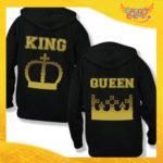 """Coppia di Felpe Nero Oro Love """"King and Queen Corona"""" Stampa Retro San Valentino Gadget Eventi"""