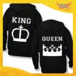 """Coppia di Felpe Nero Love """"King and Queen Corona"""" Stampa Retro San Valentino Gadget Eventi"""
