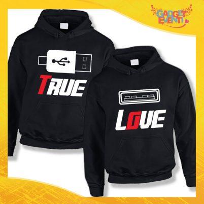 """Coppia di Felpe Nero Love """"True Love"""" San Valentino Gadget Eventi"""