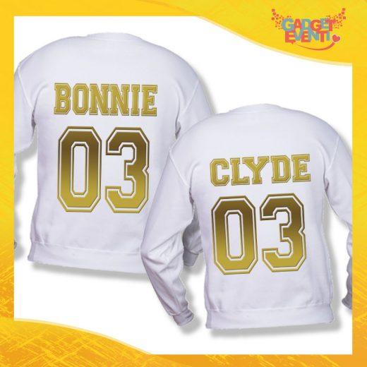"""Coppia di Felpe Bianco Oro Love """"Bonnie and Clyde"""" Stampa Retro San Valentino Gadget Eventi"""