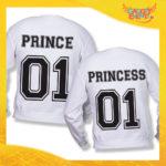 """Coppia di Felpe Bianco Love """"Prince and Princess"""" Stampa Retro San Valentino Gadget Eventi"""