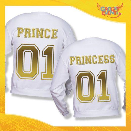 """Coppia di Felpe Bianco Oro Love """"Prince and Princess"""" Stampa Retro San Valentino Gadget Eventi"""