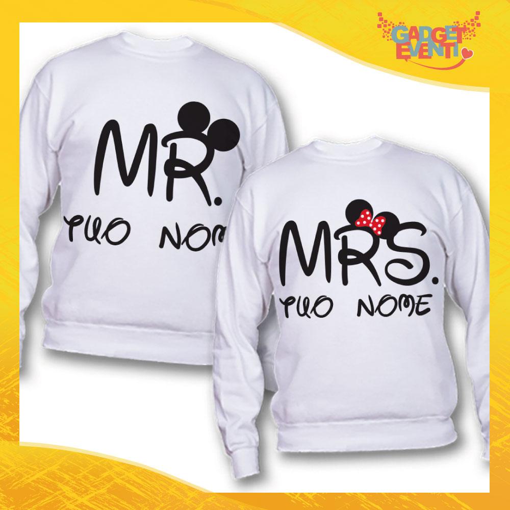 """Coppia di Felpe Bianco Love """"Mr and Mrs Disney Nome Personalizzato"""" San Valentino Gadget Eventi"""
