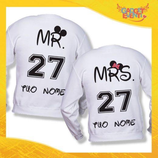 """Coppia di Felpe Bianco Love """"Mr and Mrs Disney"""" Stampa Retro San Valentino Gadget Eventi"""