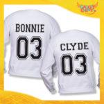 """Coppia di Felpe Bianco Love """"Bonnie and Clyde"""" Stampa Retro San Valentino Gadget Eventi"""