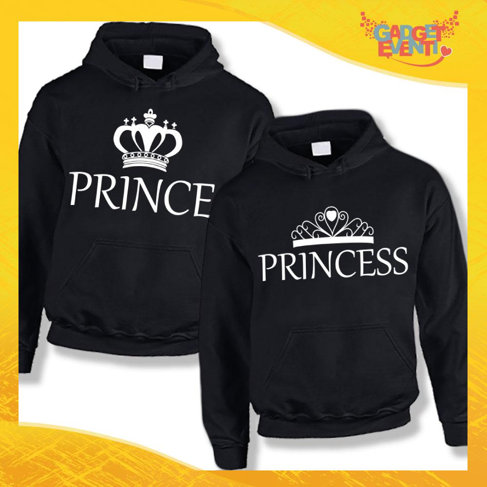 """Coppia di Felpe Nero Love """"Prince and Princess"""" San Valentino Gadget Eventi"""