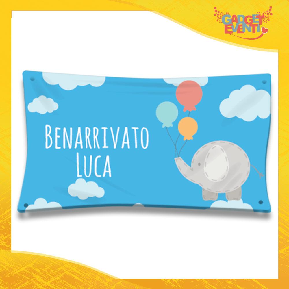 """Striscione Bambino Neonato """"Elefante tra le Nuvole"""" Baby Gadget Eventi"""