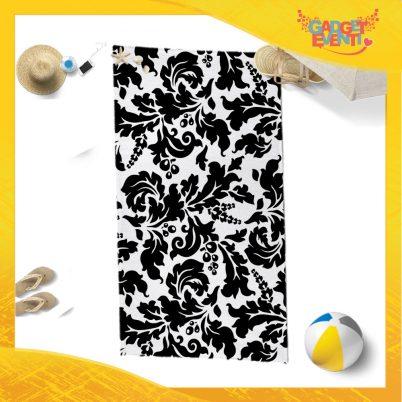 """Telo Mare Personalizzato """"Fiori Bianco e Nero"""" Asciugamani Spiaggia Gadget Eventi"""
