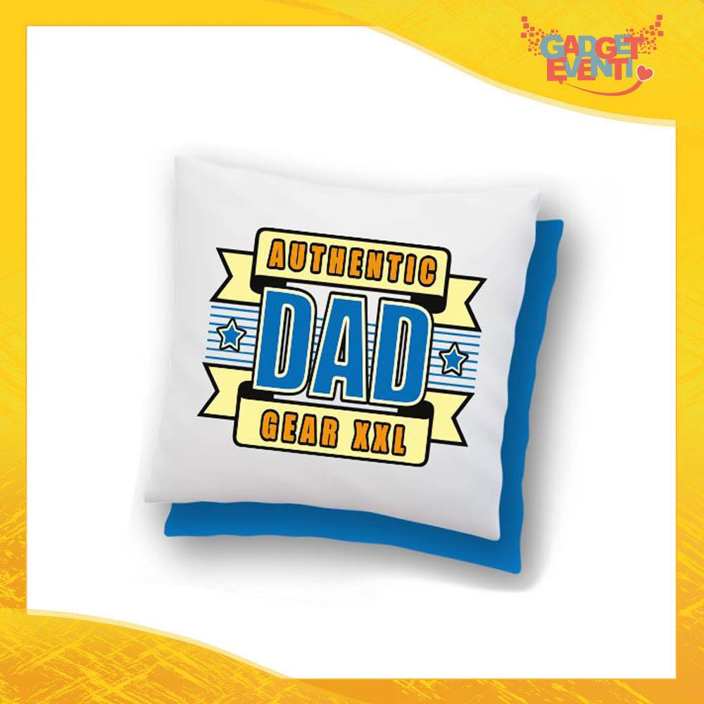"""Cuscino Quadrato """"Authentic Dad"""" Idea Regalo Festa del Papà Gadget Eventi"""
