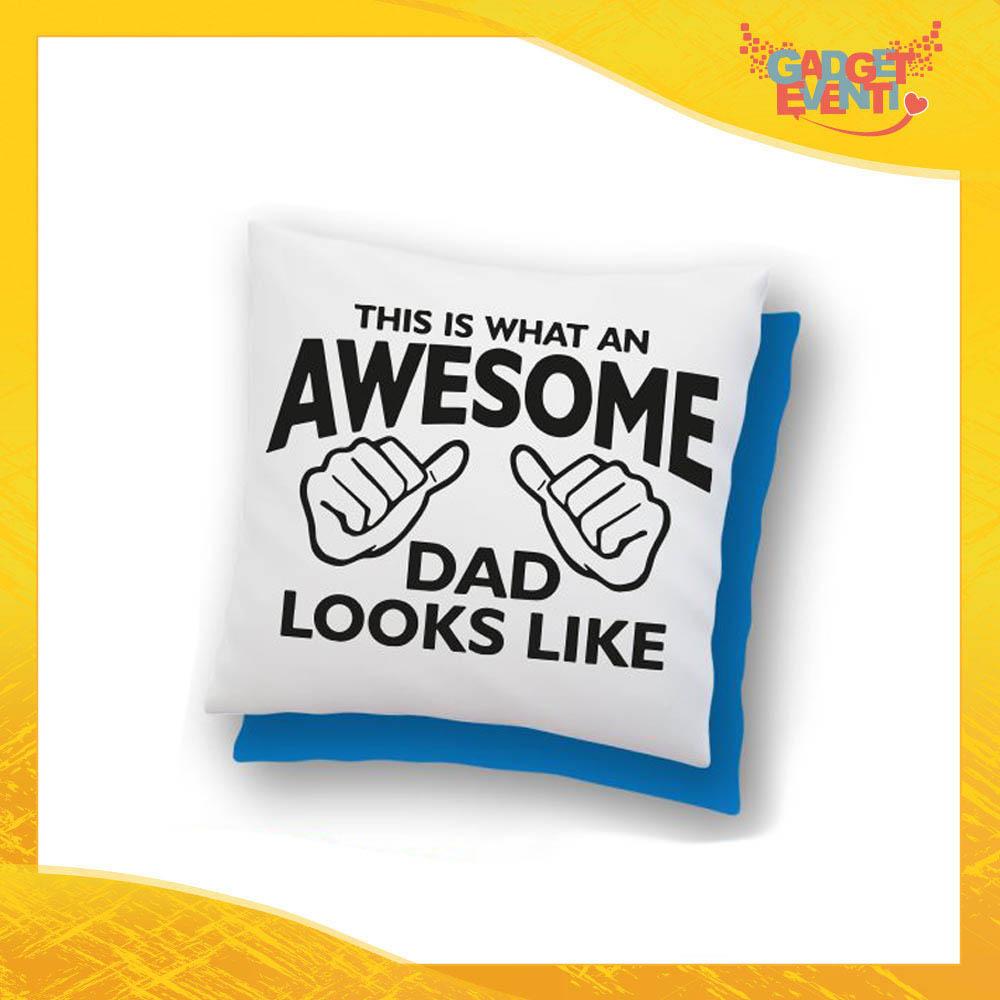 """Cuscino Quadrato """"Awesome Dad"""" Idea Regalo Festa del Papà Gadget Eventi"""