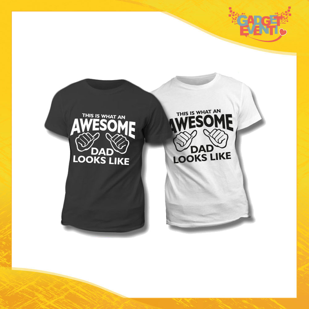 "Maglietta T-Shirt Regalo Festa del Papà ""Awesome Dad"" Gadget Eventi"