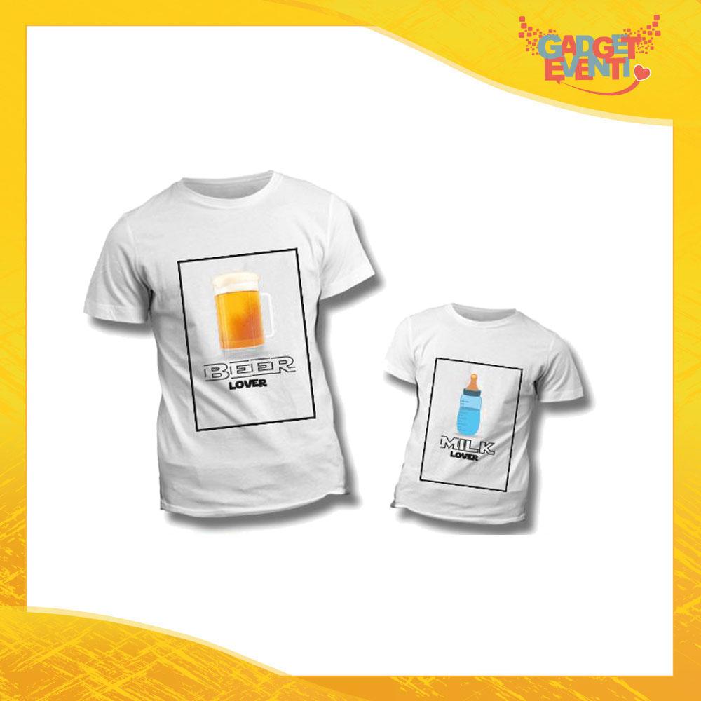 """Coppia di T-Shirt """"Beer Milk Lover"""" Maglietta Padre Figlio Maglia Idea Regalo Festa del Papà Gadget Eventi"""