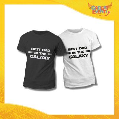 """Maglietta T-Shirt Regalo Festa del Papà """"Best Dad Galaxy"""" Gadget Eventi"""