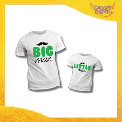 """Coppia di T-Shirt """"Big Little Man Baffi"""" Maglietta Padre Figlio Maglia Idea Regalo Festa del Papà Gadget Eventi"""