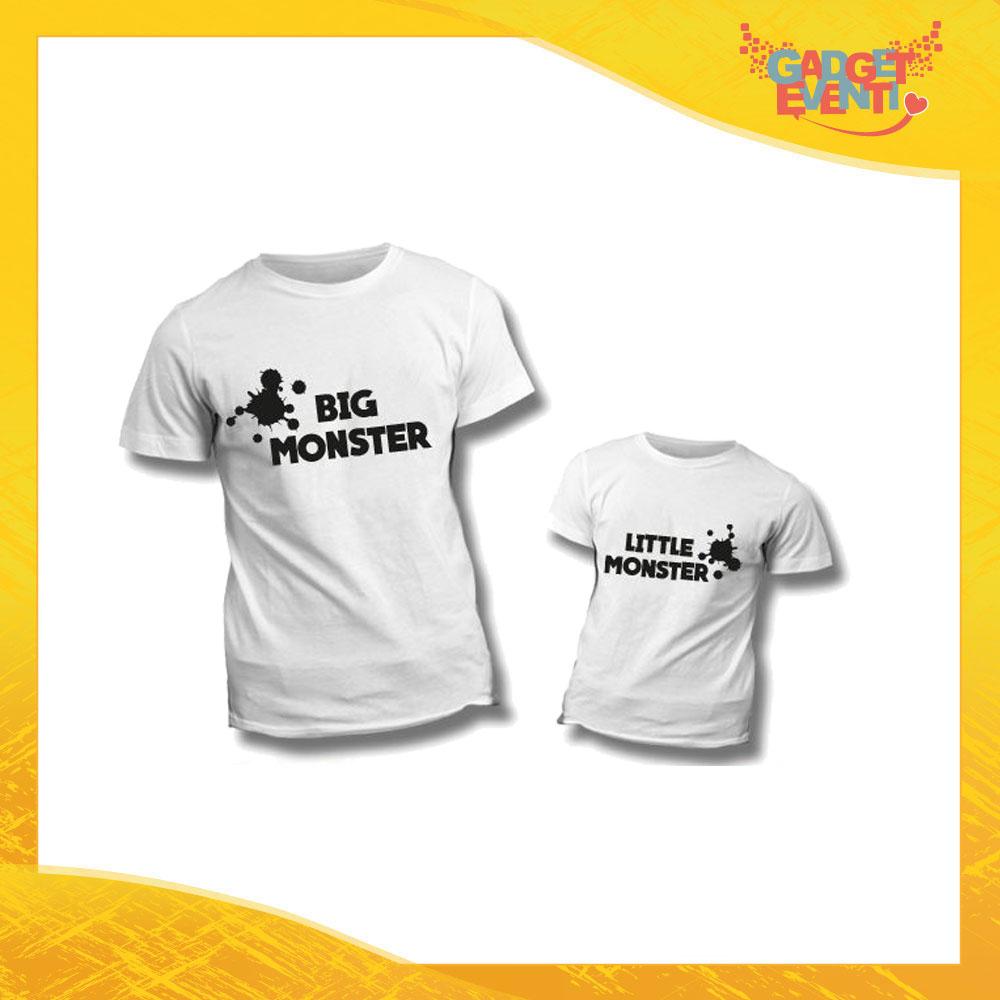 """Coppia di T-Shirt """"Big Little Monster"""" Maglietta Padre Figlio Maglia Idea Regalo Festa del Papà Gadget Eventi"""