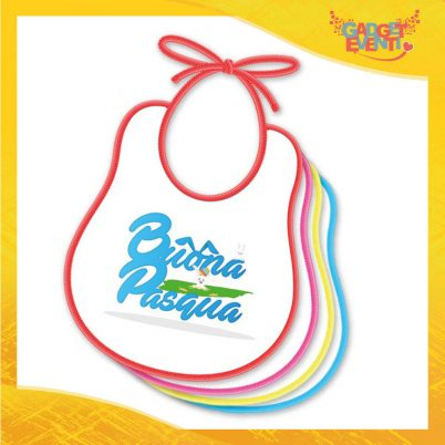 """Bavetto Bavaglino Bimbo Maschietto """"Bunny Games"""" idea regalo Pasqua Gadget Eventi"""