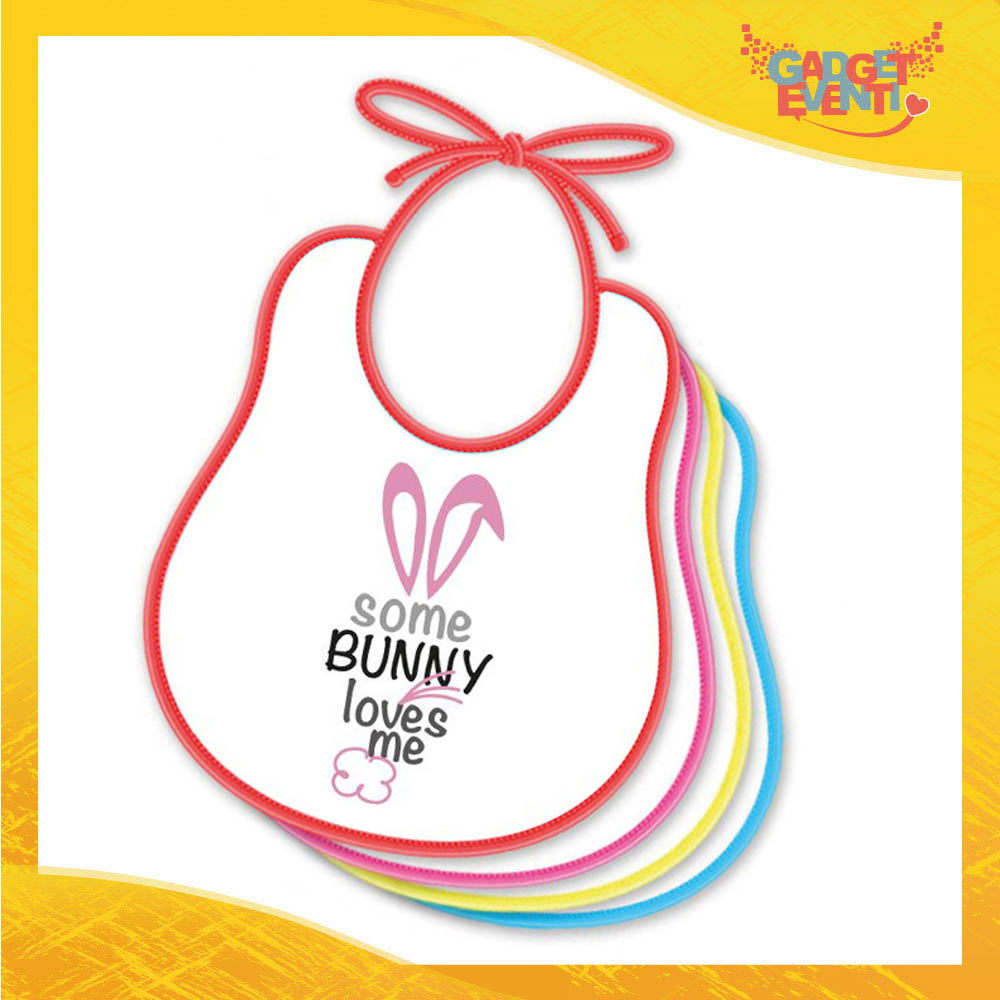 """Bavetto Bavaglino Bimbo Femminuccia """"Bunny Loves Me"""" idea regalo Pasqua Gadget Eventi"""