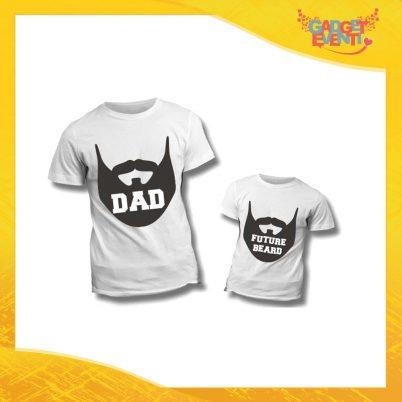"""Coppia di T-Shirt Bianche """"Dad Future Beard"""" Maglietta Padre Figlio Maglia Idea Regalo Festa del Papà Gadget Eventi"""
