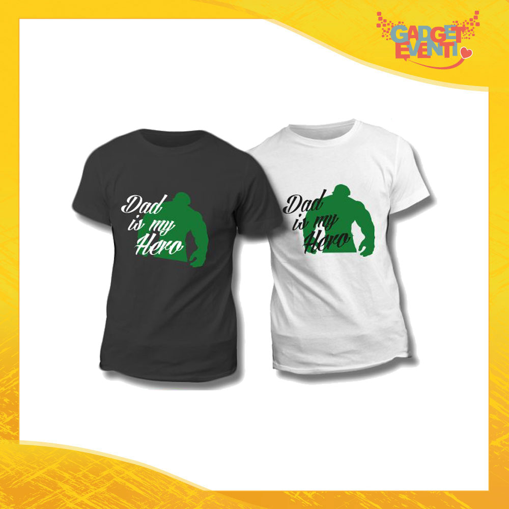 "Maglietta T-Shirt Regalo Festa del Papà ""Dad is My Hero Green"" Gadget Eventi"