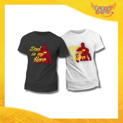 "Maglietta T-Shirt Regalo Festa del Papà ""Dad is My Hero Red"" Gadget Eventi"