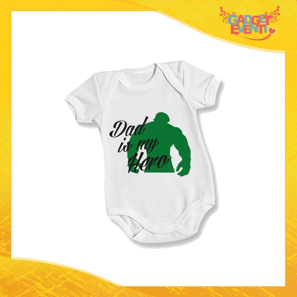 """Body Bimbo Neonato Bodino """"Dad is My Hero Green"""" Festa del Papà Idea Regalo Gadget Eventi"""