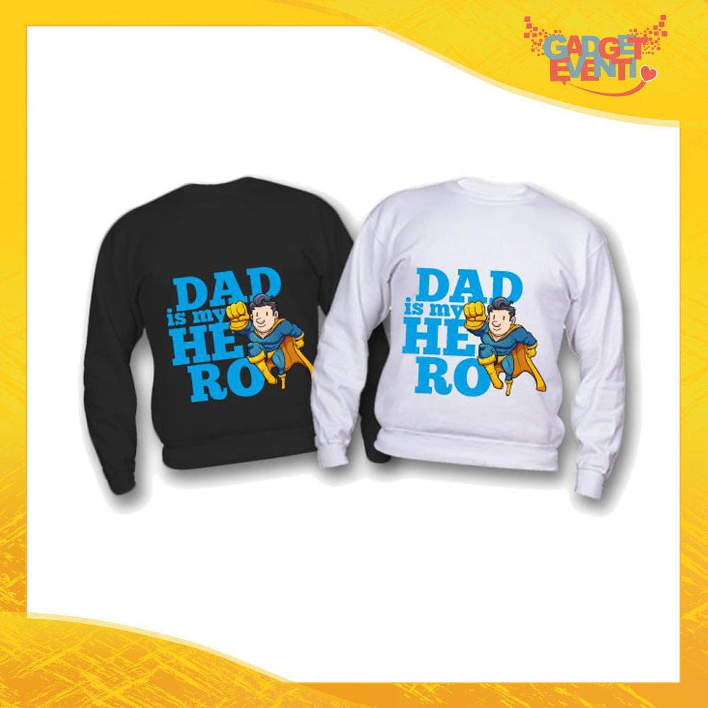 "Felpa Bimbo Maschietto ""Dad is My Hero Supereroe"" Idea Regalo Festa del Papà Gadget Eventi"