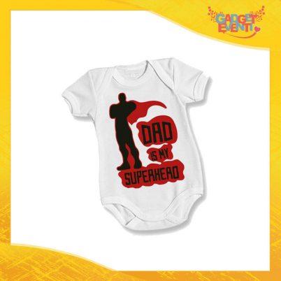 """Body Bimbo Neonato Bodino """"Dad is My Superhero"""" Festa del Papà Idea Regalo Gadget Eventi"""