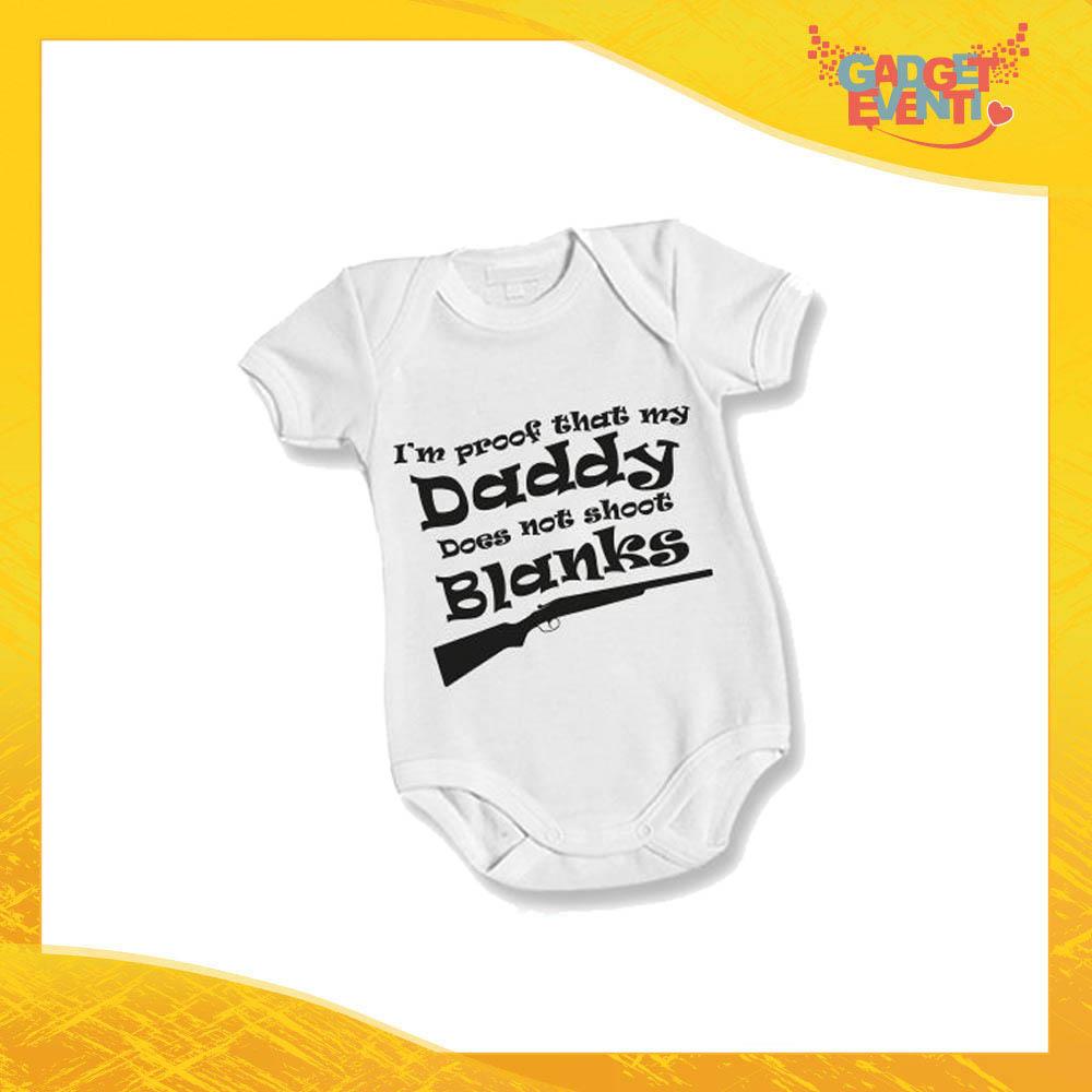 """Body Bimbo Neonato Bodino """"Daddy Blanks"""" Festa del Papà Idea Regalo Gadget Eventi"""