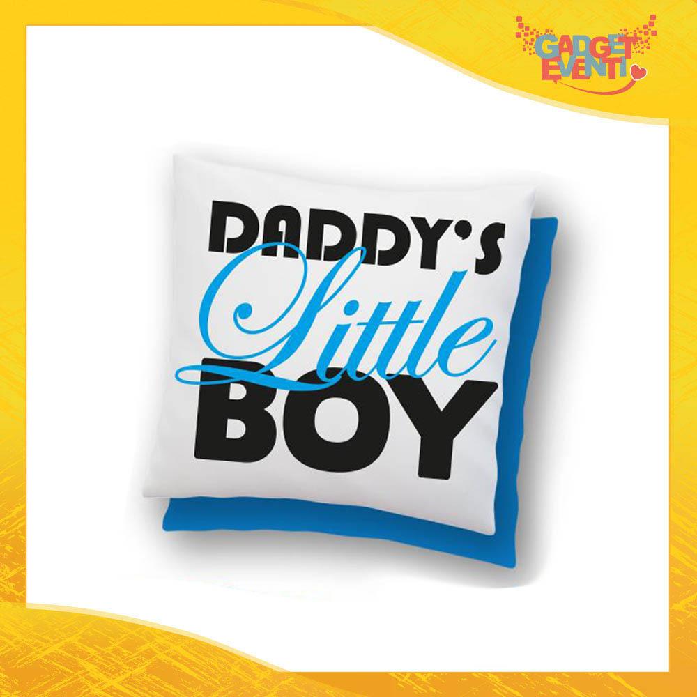 """Cuscino Quadrato Maschietto """"Daddy's Little Boy"""" Idea Regalo Festa del Papà Gadget Eventi"""