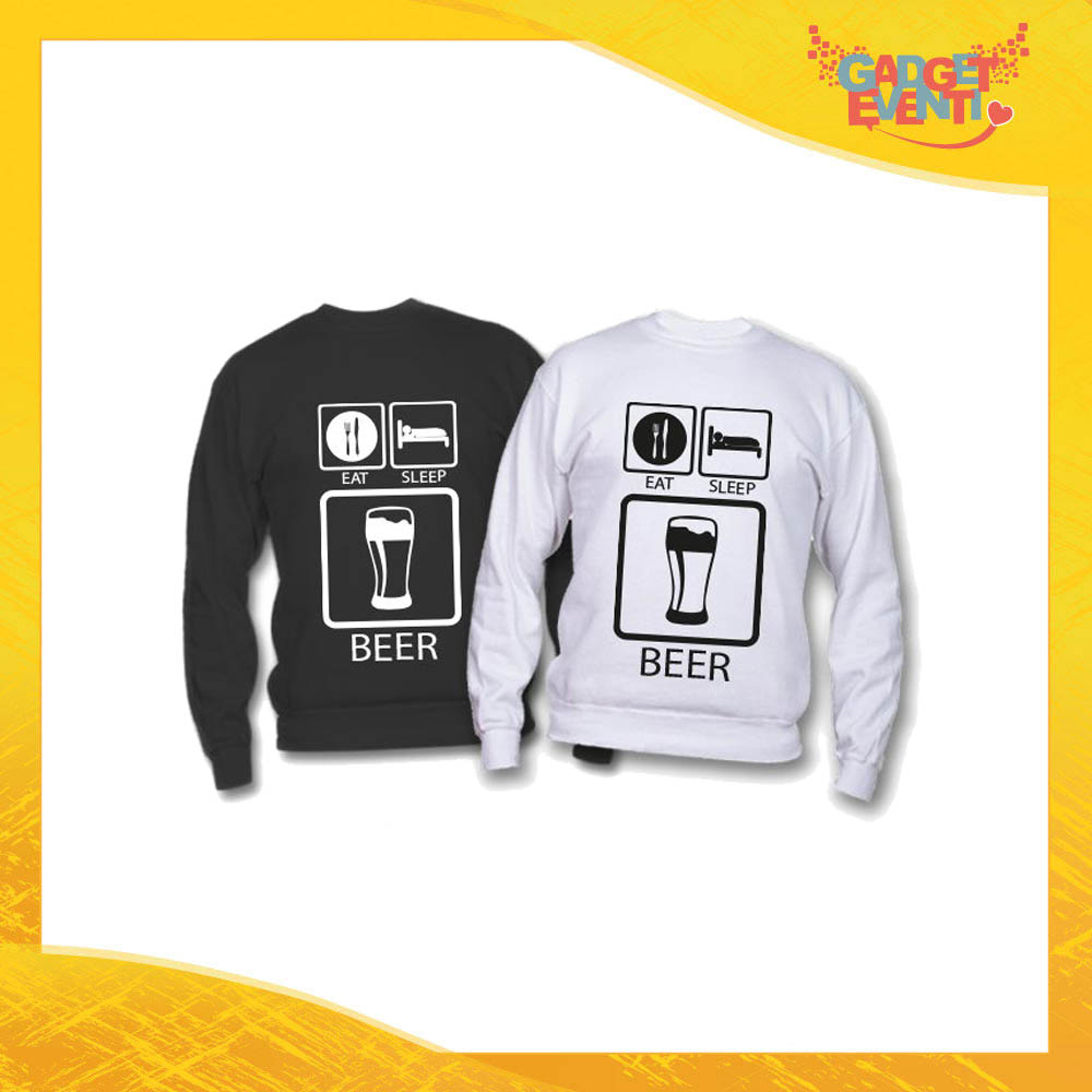 "Felpa ""Eat Sleep Beer"" Idea Regalo Originale Festa del Papà Gadget Eventi"