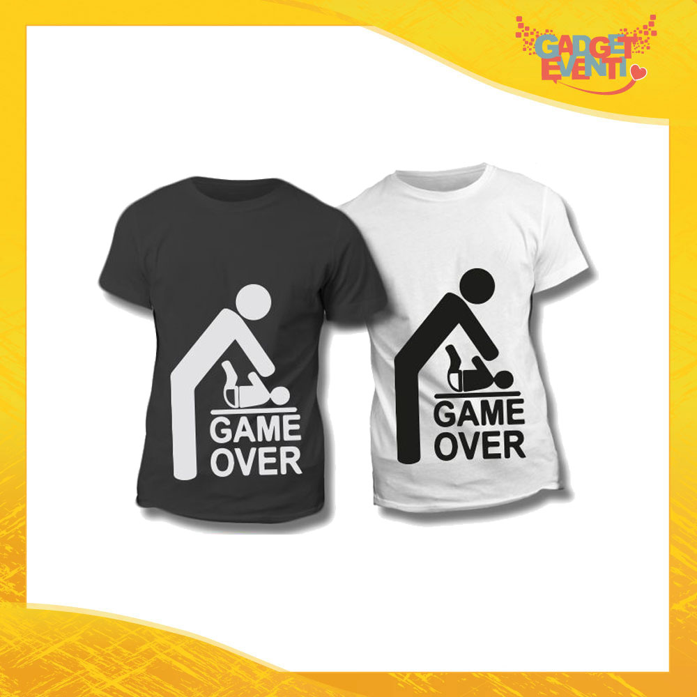 "Maglietta T-Shirt Regalo Festa del Papà ""Game Over"" Gadget Eventi"
