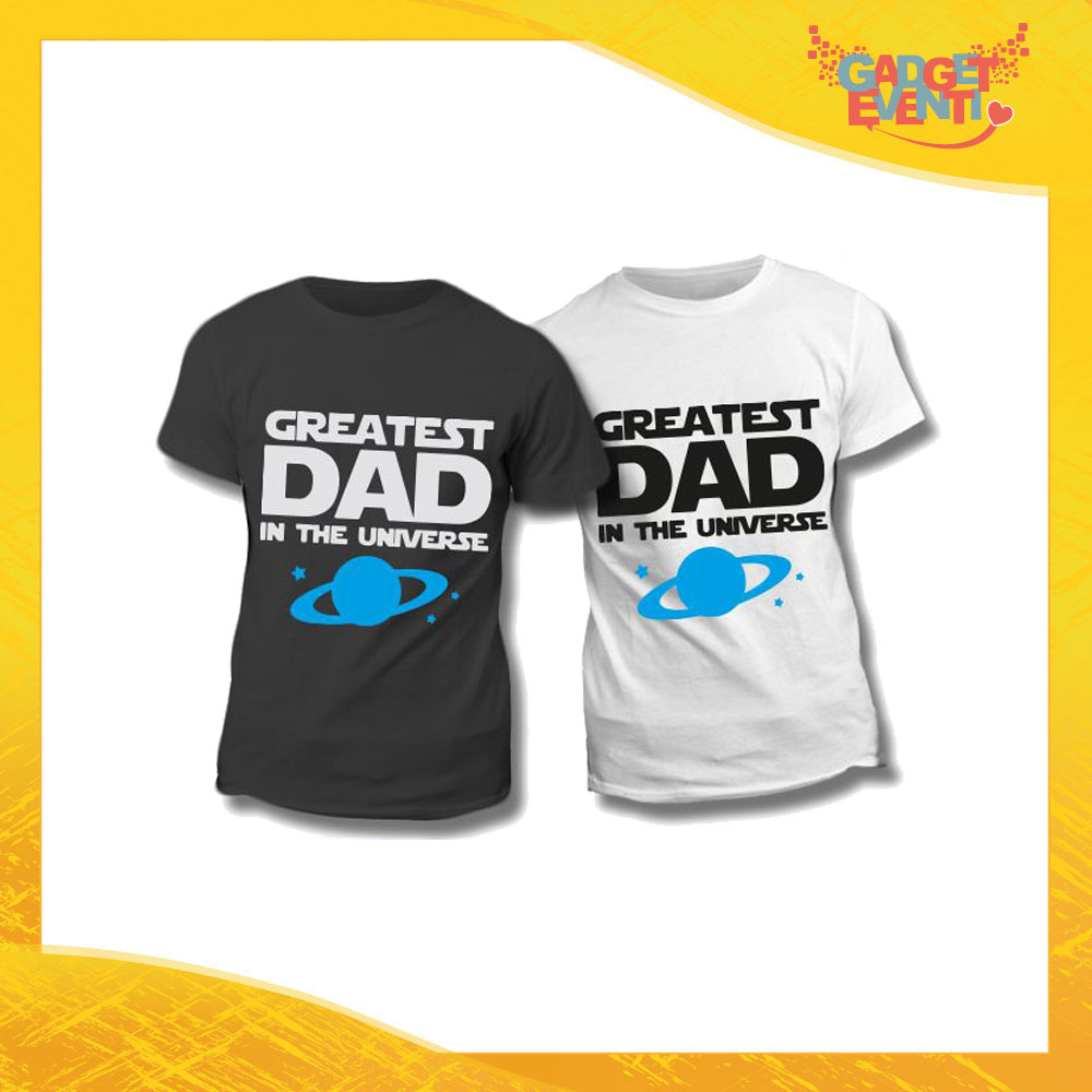 """Maglietta T-Shirt Regalo Festa del Papà """"Greatest Dad Universe"""" Gadget Eventi"""
